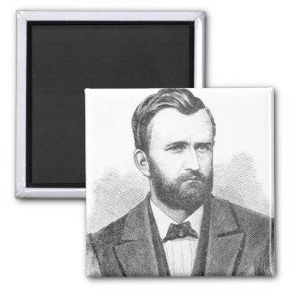 Ulysses S. Grant Illustrative Portrait 2 Inch Square Magnet