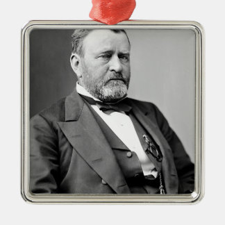 Ulysses S Grant Square Metal Christmas Ornament