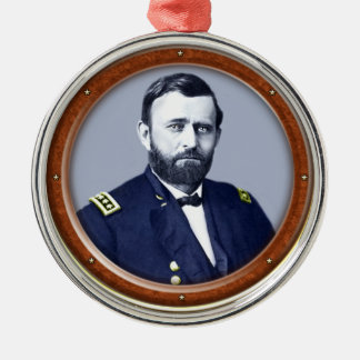 Ulysses S. Grant Round Metal Christmas Ornament