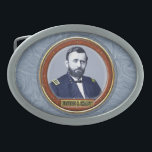 "Ulysses S. Grant Oval Belt Buckle<br><div class=""desc"">Ulysses S. Grant, born Hiram Ulysses Grant; April 27, 1822 to July 23, 1885, was the 18th President of the United States from 1869 to 1877, as well as military commander during the Civil War and post-war Reconstruction periods. Under Grant&#39;s command, the Union Army defeated the Confederate Military and ended...</div>"