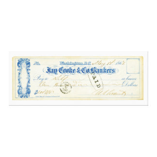 Ulysses S. Grant Signed Check from May 17th 1867 Canvas Print