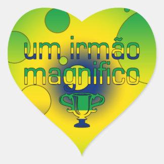 Um Irmão Magnifico Brazil Flag Colors Pop Art Heart Sticker