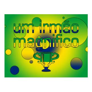 Um Irmão Magnifico Brazil Flag Colors Pop Art Postcard