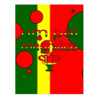 Um la bandera de Pai Magnifico Portugal colorea Tarjeta Postal