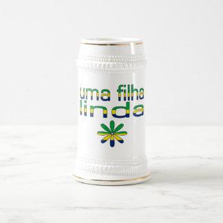 Uma Filha Linda Brazil Flag Colors Beer Stein