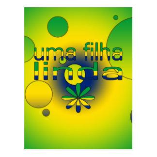 Uma Filha Linda Brazil Flag Colors Pop Art Postcard