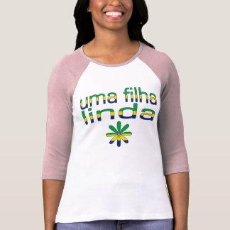 Uma Filha Linda Brazil Flag Colors T-Shirt