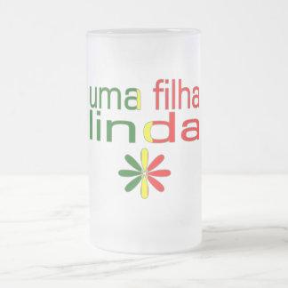 Uma Filha Linda Portugal Flag Colors 16 Oz Frosted Glass Beer Mug