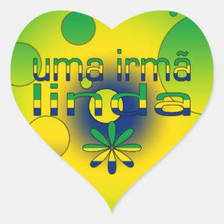 Uma Irmã Linda Brazil Flag Colors Pop Art Heart Sticker