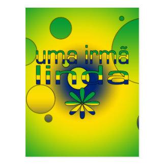 Uma Irmã Linda Brazil Flag Colors Pop Art Postcard