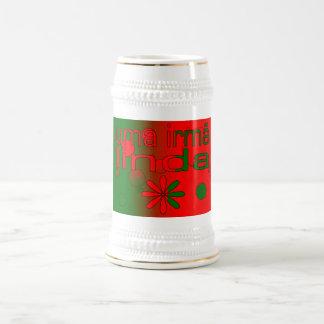 Uma Irmã Linda Portugal Flag Colors Pop Art Beer Stein