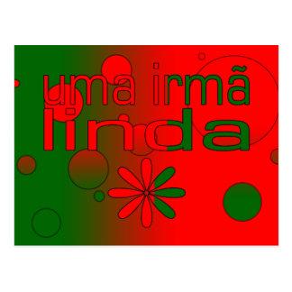 Uma Irmã Linda Portugal Flag Colors Pop Art Postcard