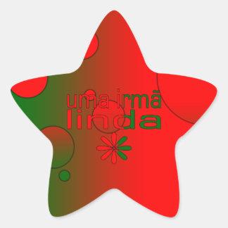 Uma Irmã Linda Portugal Flag Colors Pop Art Star Sticker