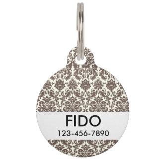 Umber and Ivory Elegant Damask Pattern Pet ID Tag