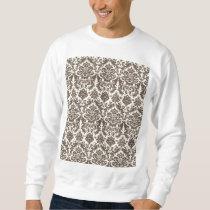 Umber and Ivory Elegant Damask Pattern Sweatshirt
