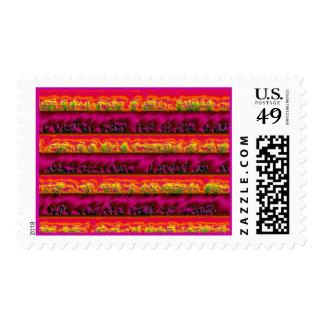 Umber quemado de la púrpura hinchada rojo sello postal
