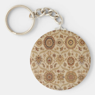 Umber Tawny Floral Persian Tapestry Design Basic Round Button Keychain