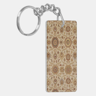 Umber Tawny Floral Persian Tapestry Design Double-Sided Rectangular Acrylic Keychain