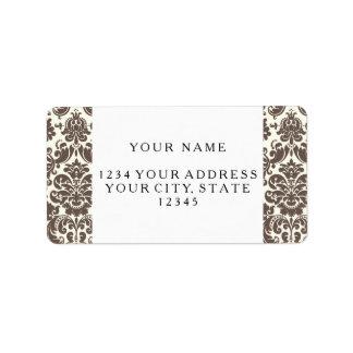 Umber y modelo elegante de marfil del damasco etiquetas de dirección