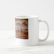 umbrella market, african marketplace, africa, african, plaza, culture, shopping, fine art, abstract art, people, mug, painting, Mug with custom graphic design