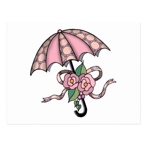 Umberlla con los rosas 09 tarjetas postales