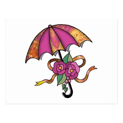 Umberlla con los rosas 16 tarjetas postales
