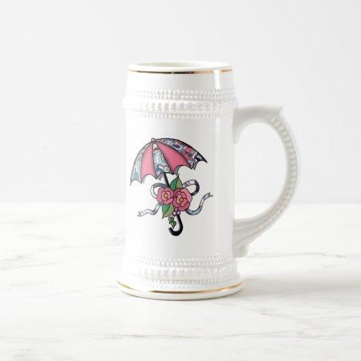 Umberlla con los rosas 17 jarra de cerveza