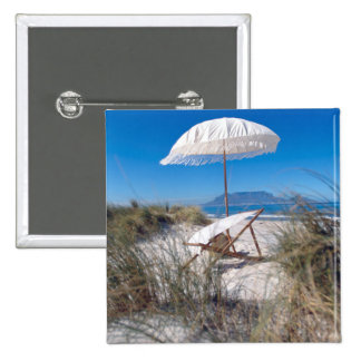 Umbrella And Chair On Beach Pinback Button