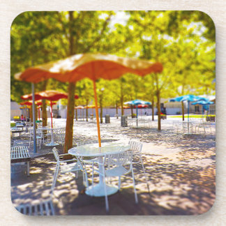 Umbrella and Chairs, Courtyard, Crown Center, KC Beverage Coaster