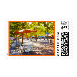 Umbrella and Chairs, Courtyard, Crown Center, KC Postage