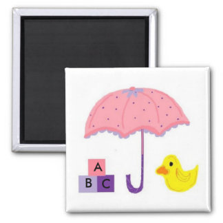 Umbrella and Duck Baby Shower Magnet