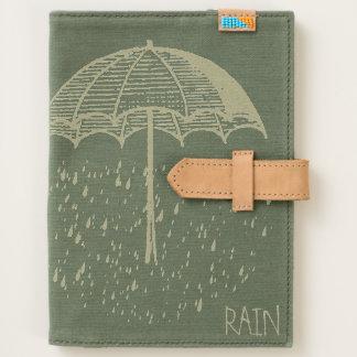 Umbrella and Rain Custom Canvas & Leather Journal