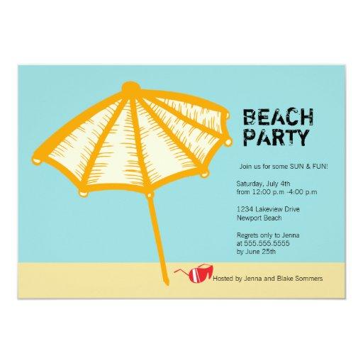 Umbrella and shades- summer beach party invitation