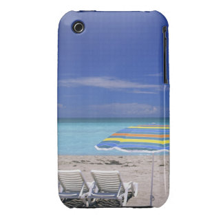 Umbrella and two lounge chairs on beach, Miami iPhone 3 Case-Mate Case