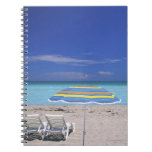 Umbrella and two lounge chairs on beach, Miami Note Book