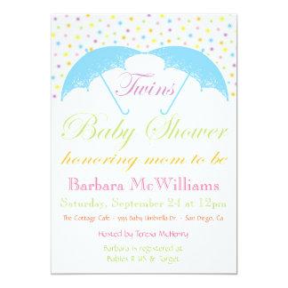 "Umbrella Baby Boy Twins Shower Invitations 5"" X 7"" Invitation Card"