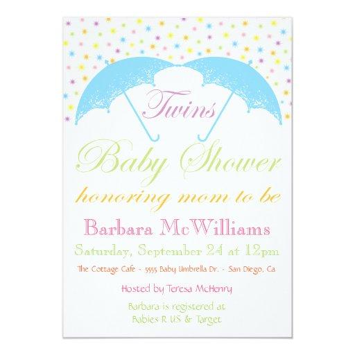 Umbrella Baby Boy Twins Shower Invitations