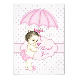 Umbrella Baby Girl Sprinkle Baby Shower Thank You Card