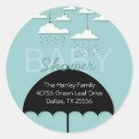 Umbrella Baby Shower Address Label Classic Round Sticker