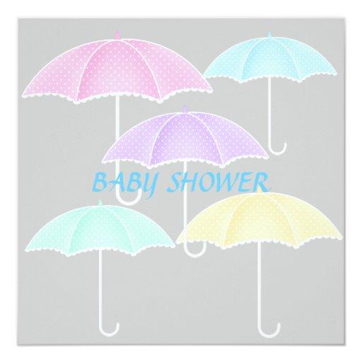 """Umbrella Baby shower Blue and grey invitation 5.25"""" Square Invitation Card"""