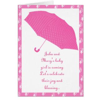 umbrella, baby shower - card