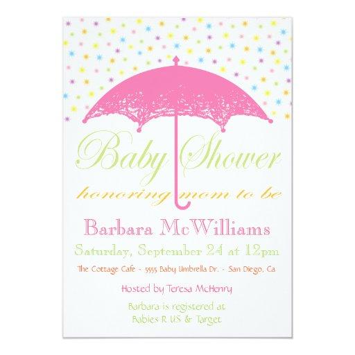 "Umbrella Baby Shower Invitations 5"" X 7"" Invitation Card"