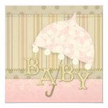 """Umbrella Baby Shower Invitations 5.25"""" Square Invitation Card"""