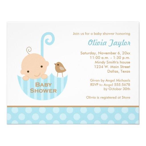 umbrella baby shower invitations in blue zazzle
