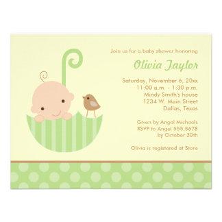 Umbrella Baby Shower Invitations in Green
