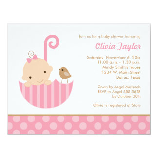 Umbrella Baby Shower Invitations in Pink