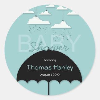 Umbrella Baby Shower Save the Date Label Classic Round Sticker
