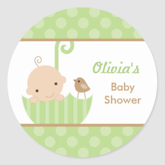 Umbrella Baby Shower Stickers in Green