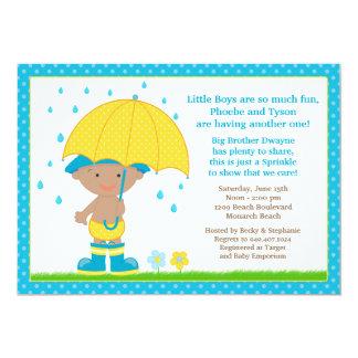 Umbrella Baby Sprinkle Shower African American Boy Card