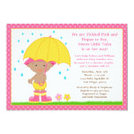 Umbrella Baby Sprinkle Shower African American Custom Invitations